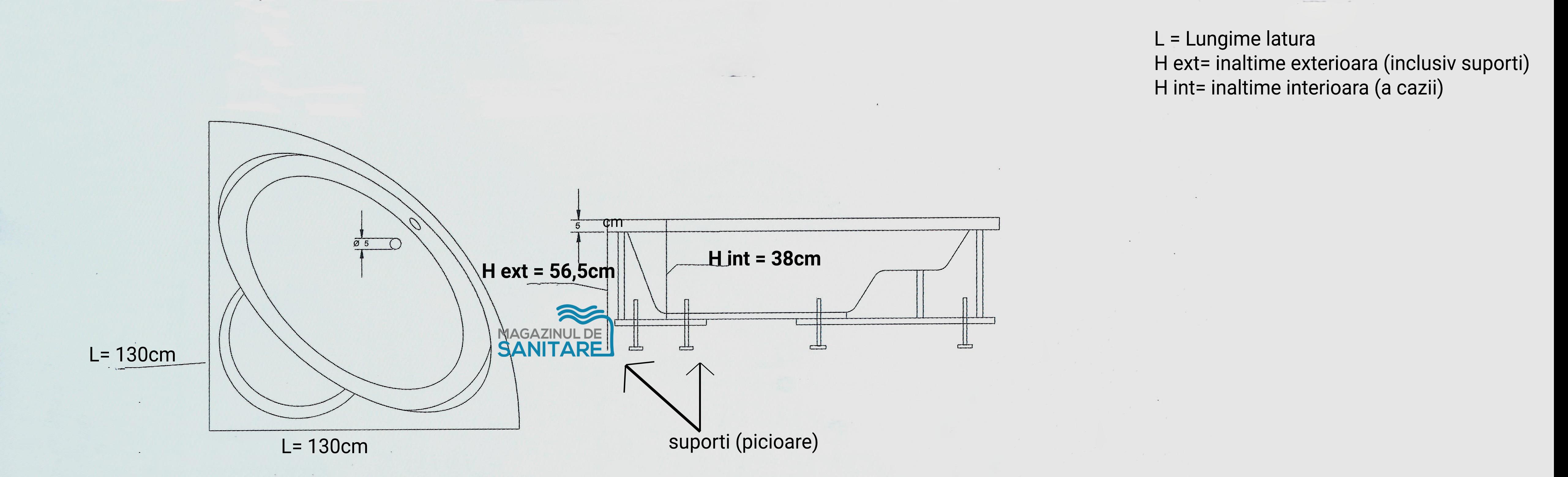 schita tehnica cada 130 130 cm GEMINI