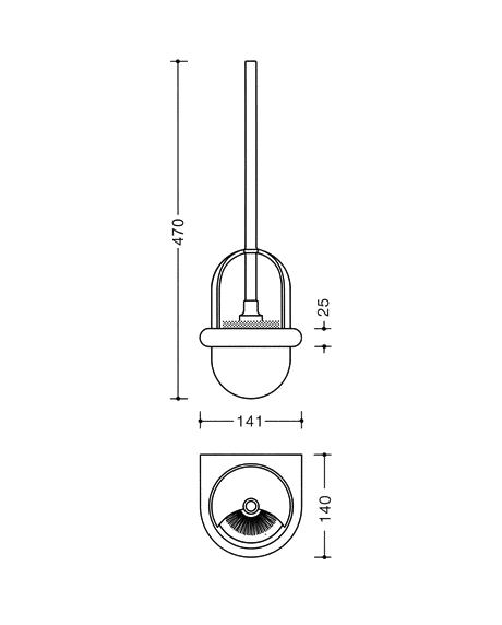 Set perie toaleta si recipient semisferic perie Hewi-big