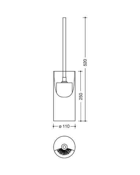 Set perie toaleta si recipient cilindric pentru perie Hewi-big