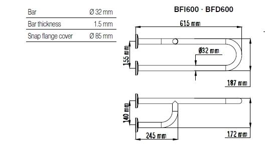 Bara dubla fixa, fixare 3 puncte, otel alb 62 cm BFI600-big