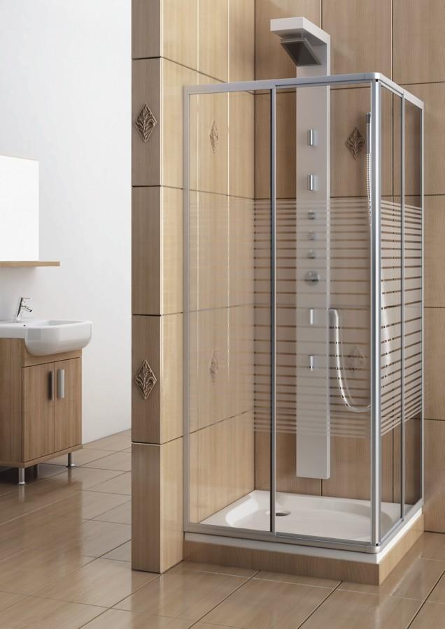 cabina dus reglabila 80x80x180 cm sticla securizata dungi profile cromate variabel. Black Bedroom Furniture Sets. Home Design Ideas