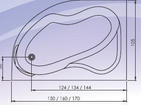 Cada colt asimetrica 160x105 cm Carina-big