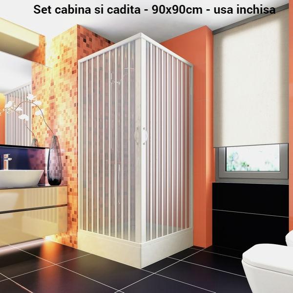 Set cabina dus si cadita dus 90x90 cm patrate-big