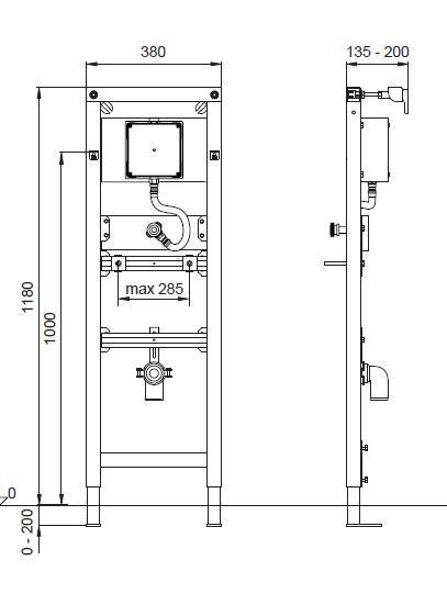 Suport pisoar cu sistem manual de spalare  Wisa Square-big