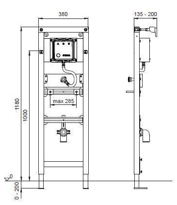Suport pisoar cu sistem  manual de spalare Wisa XS-big