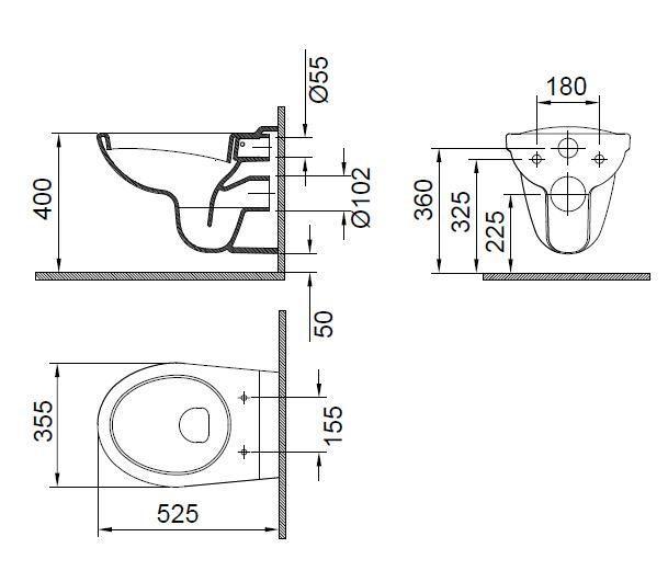 Vas WC suspendat 525x355 mm Wisa-big