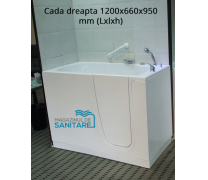 Cada baie dizabilitati dreapta 120x66x95 cm